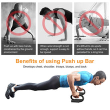 Push Up Bars Stand S Shape Fitness Workout Gym Exercise w/ Push-Up Training Mat
