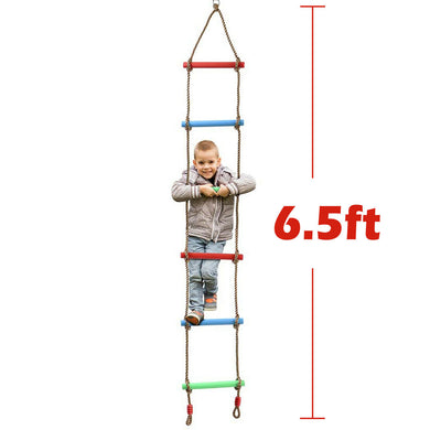 6 Rungs Swing Climbing Rope Ladder Hang for Kids Children Playground Exercise