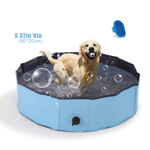 OWNPETS Foldable Pet Pool, Portable Dog Swimming Bathing Pool, Non-Slip Multi-Purpose Kiddie Pool Bathtub for Kids, Dogs, Cats, Pigs & More Pets S size