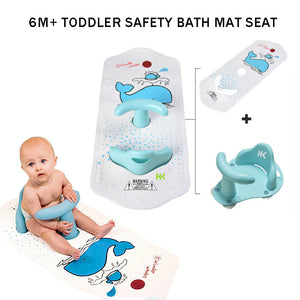 6Months Infant Toddler Tub Seat Non-slip Safety Chair with Heat Sensitive Bath Mat