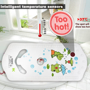 6M+ Infant Toddler Tub Seat Non-slip Safety Chair with Heat Sensitive Bath Mat Green