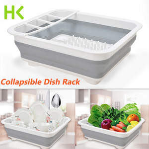 Extra Large Dish Drying Rack Dish Drainer w/ Utensil Holder Collapsible Foldable
