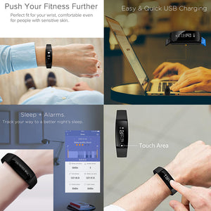 AGPtek Waterproof Fitness Tracker Smart Wristband Bluetooth OLED Display for IOS Android Smartphone