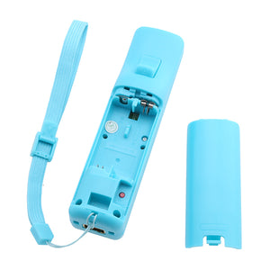 Built-in Motion Plus Remote+Nunchuck Controller For Wii+Case+Wrist Strap Bule
