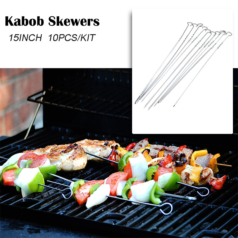 10pcs 15 in Stainless Steel Shish Kabob Skewers Barbeque BBQ Kebab Flat Needle