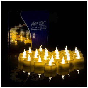 24 PCS Flameless Smokeless Flickering Flashing LED Tealight Candles Battery Operated for Wedding