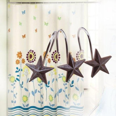 AGPtek 12 PCS Decorative Rolling Shower Curtain - Star