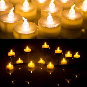 wadeo 100 Battery Operated LED Amber Flameless Flickering Flashing Tea Light Candle
