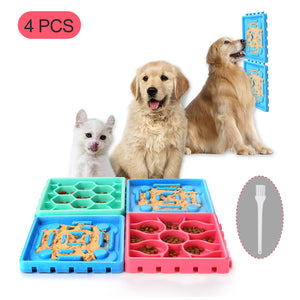 4Pcs Pet Slow Feeder Tray Set Anti-Slip Slow Eating Dog Feeder Trays & Licking Trays Ideal for Pet Anxiety Relief