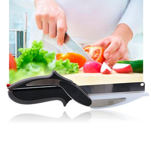New Metal Cutter 2-in-1 Knife Cutting Board Home Kitchen Scissors Smart Tool Clever Cutter
