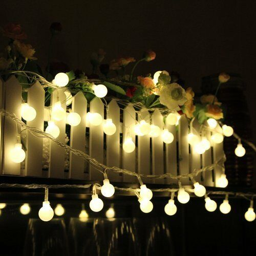 10m 100LED Globe Warm White Bulbs Frosted Xmas Outdoor Patio String Lights 110V