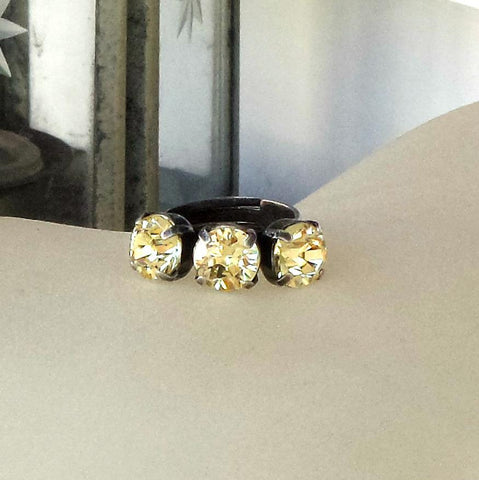 Swarovski crystal 8mm fancy three stone ring lemon jonquil-Cubrik Store