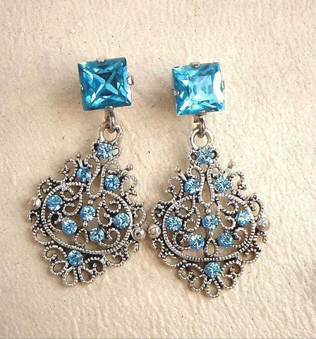 Swarovski crystal light turquoise and aquamarine & drop filigree earrings-Cubrik Store