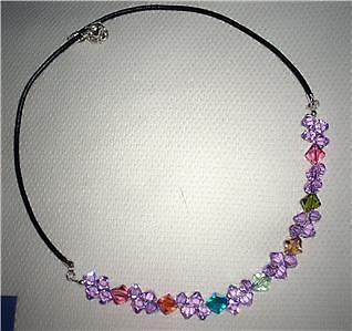 Swarovski cz violet/multi-colour necklace leather cord-Cubrik Store