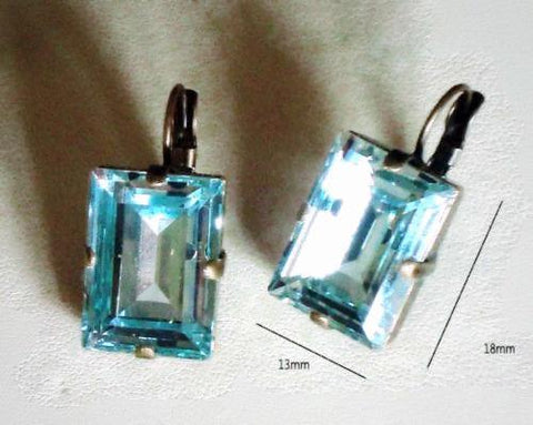 Swarovski crystal 18X13mm light azore step cut fancy stone leverback earrings-Cubrik Store