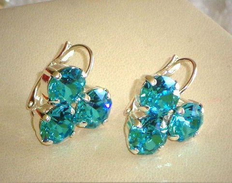 Swarovski crystal 8mm light turquoise fancy three-stone leverback earrings-Cubrik Store