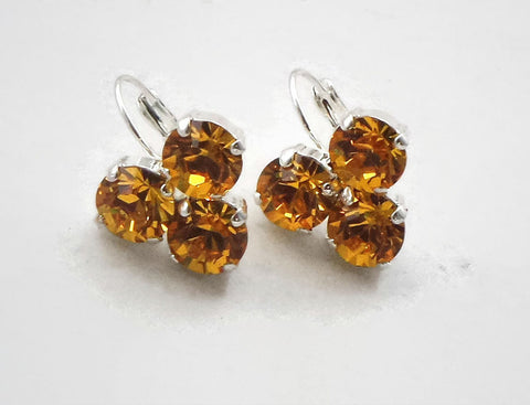 Swarovski crystal sunflower fancy 8mm three-stone leverback drop earrings-Cubrik Store