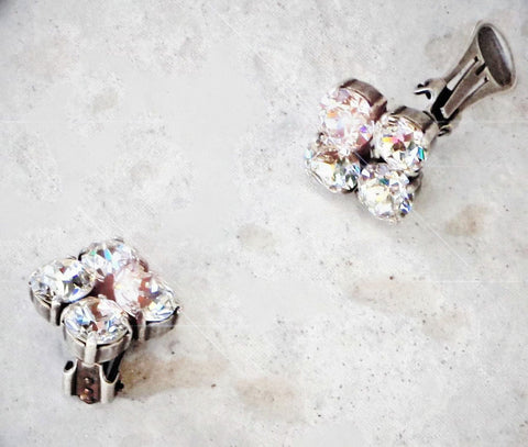 Swarovski crystal fancy stone clipon earrings clear crystal-Cubrik Store