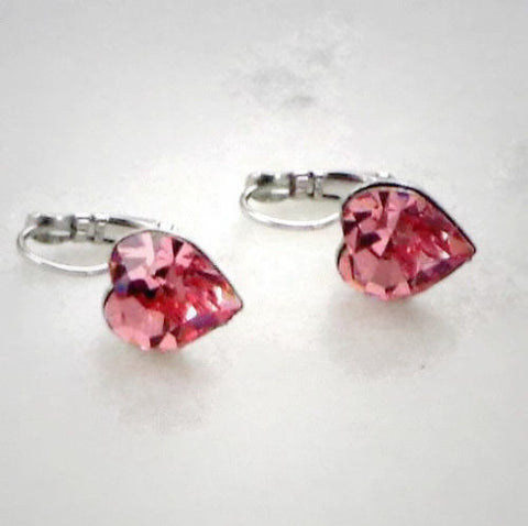Valentine's Swarovski crystal 11X10mm light rose heart fancy stone earrings-Cubrik Store