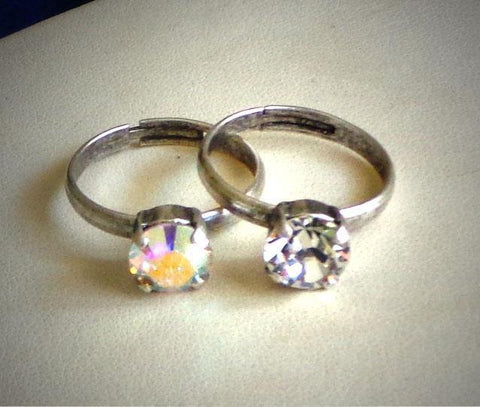 Two Swarovski crystal 8mm single stone rings clear crystal/clearAB-Cubrik Store