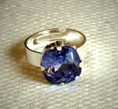 Sterling Silver 925Tanzanite Swarovski crystal ring adjustable-Cubrik Store