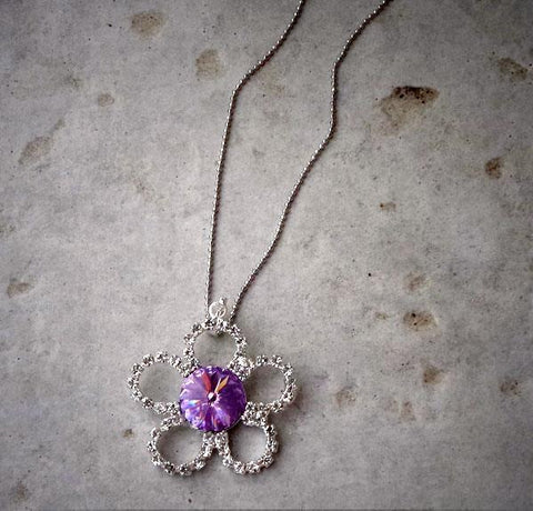 Swarovski crystal flower pendant with 12mm violet rivoli ,sterling silver chain-Cubrik Store