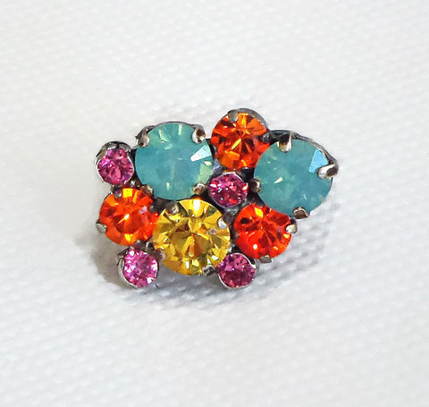 Swarovski crystal multistone ring multicolour light topaz and pacific opal-Cubrik Store