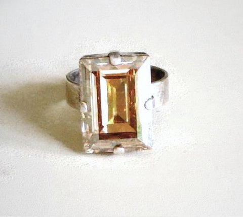 Sparkling Swarovski crystal champagne golden shadow step cut fancy stone ring-Cubrik Store