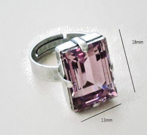 Swarovski crystal 18X13mm Light amethyst step cut fancy stone ring-Cubrik Store