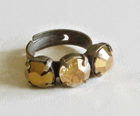Swarovski crystal gold tones 8mm round three stone ring 6-9US adjustable-Cubrik Store