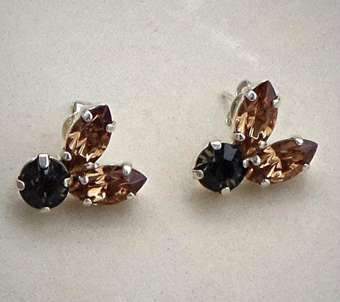 Swarovski crystal colorado topaz crystal navette fancy stone stud earrings-Cubrik Store