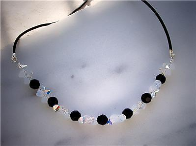 Swarovski crystal Jet / clearAB necklace with leather cord-Cubrik Store
