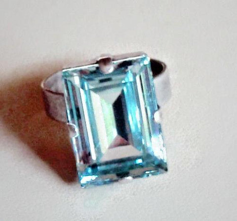 Swarovski crystal light azore step cut fancy stone ring 18X13mm ,antique silver-Cubrik Store