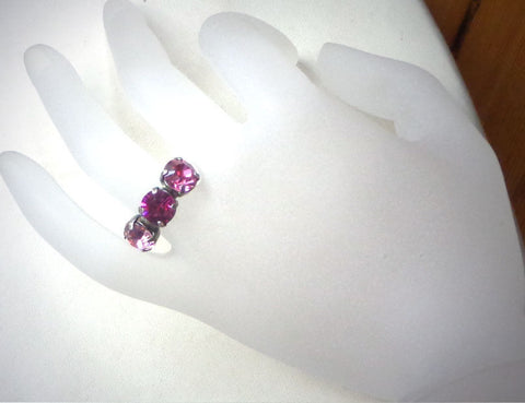 Swarovski crystal pink tones three stone ring 6-9US-Cubrik Store