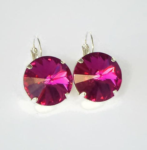 Swarovski crystal large 18mm rivoli leverback earrings pink fuchsia-Cubrik Store