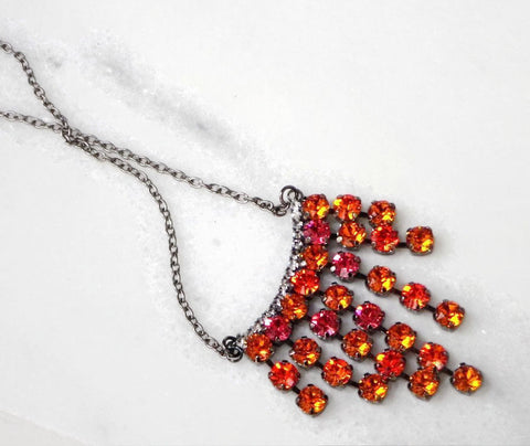 Swarovski crystal fancy stone necklace 6mm stones tangerine/indian pink-Cubrik Store