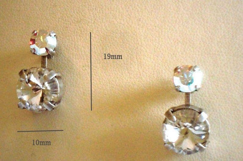 Swarovski crystal 10mm rivoli stud and drop earrings clear crystal and clearAB-Cubrik Store