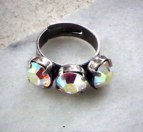 Swarovski crystal 8mm fancy three stone ring clear crystalAB 6-9US-Cubrik Store