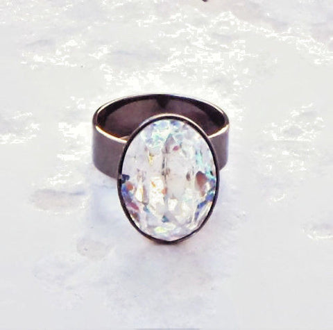 Swarovski crystal White Patina effect 18X13mm oval fancy stone ring,gunmetal-Cubrik Store