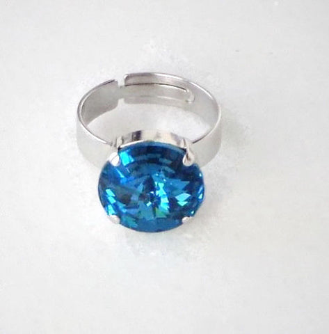 Swarovski crystal blue indicolite 14mm rivoli fancy stone ring adjustable-Cubrik Store