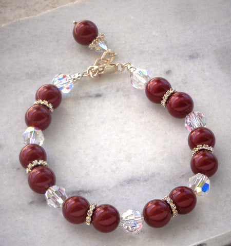 Lovely Swarovski Crystal and 10mm bordaux crystal pearl pretty bracelet-Cubrik Store