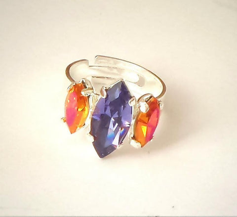 Swarovski crystal navette fancy stone ring tanzanite and pink astral-Cubrik Store