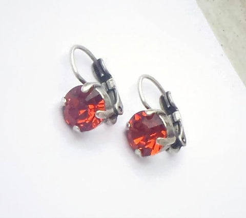 Swarovski crystal 8mm leverback fancy round stone earrings indian red-Cubrik Store