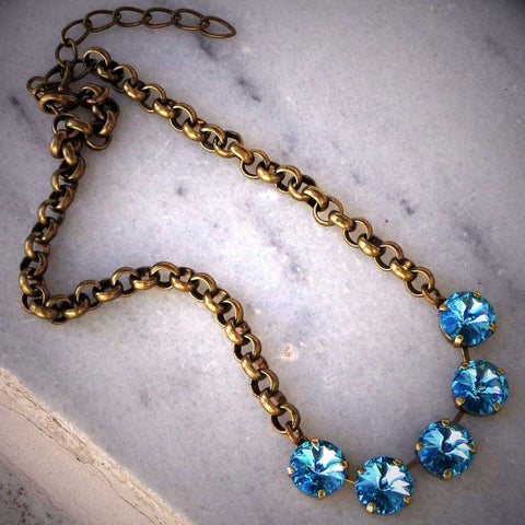 Swarovski crystal 12mm light turquoise fancy stone rivoli chain necklace-Cubrik Store