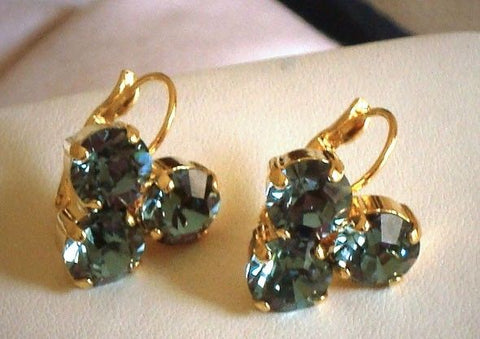 Swarovski crystal Indian Sapphire 8mm fancy stone earrings gold plated-Cubrik Store