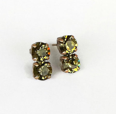 Swarovski crystal green olivine 8mm fancy round stone stud earrings-Cubrik Store