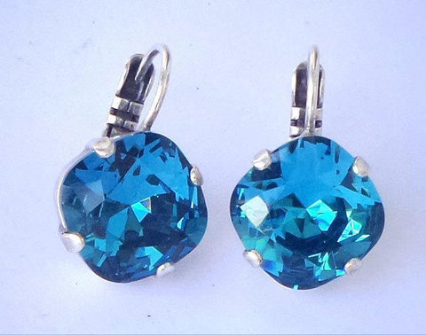 Swarovski crystal 12mm fancy square stone golf earrings Indicolite-Cubrik Store