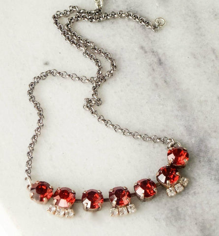 Swarovski crystal 8mm tennis style necklace red magma and clear crystal-Cubrik Store