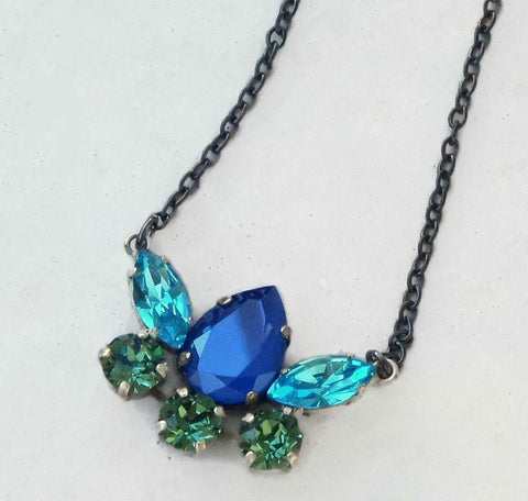 Swarovski crystal fancy multistone pendant necklace royal blue and green erinite-Cubrik Store