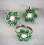 Swarovski crystal fern green and clear crystalAB flower crystal set earrings/ ring-Cubrik Store